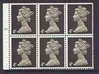 Booklet Pane - Great Britain 1967-70 Machin 4d sepia (centre band) booklet pane of 6 with cyl no N1, good perfs
