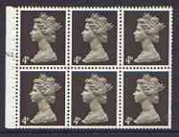 Booklet Pane - Great Britain 1967-70 Machin 4d sepia (centre band) booklet pane of 6 with cyl no N2, reasonable perfs