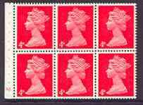 Booklet Pane - Great Britain 1967-70 Machin 4d vermilion (centre band) booklet pane of 6 with cyl no N1, perfs trimmed