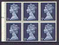 Booklet Pane - Great Britain 1967-70 Machin 5d blue booklet pane of 6 with cyl no N1, perfs trimmed