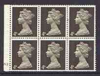 Booklet Pane - Great Britain 1967-70 Machin 4d sepia (two band) booklet pane of 6 with cyl no N2, reasonable perfs