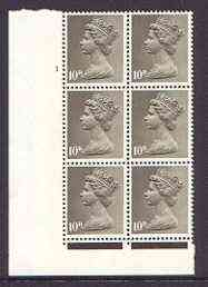 Great Britain 1967-70 Machin 10d cylinder block of 6 (Cyl 1) unmounted mint