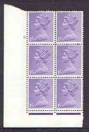 Great Britain 1967-70 Machin 1s cylinder block of 6 (Cyl 11 no dot) unmounted mint