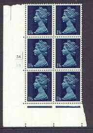 Great Britain 1967-70 Machin 1s6d (two bands) cylinder block of 6 (Cyl 3A 2B) unmounted mint