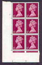 Great Britain 1967-70 Machin 6d cylinder block of 6 (Cyl 3 no dot) unmounted mint