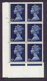 Great Britain 1967-70 Machin 5d cylinder block of 6 (Cyl 10 dot) unmounted mint