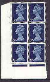 Great Britain 1967-70 Machin 5d cylinder block of 6 (Cyl 7 dot) unmounted mint