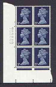 Great Britain 1967-70 Machin 5d cylinder block of 6 (Cyl 1 no dot) unmounted mint