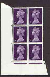 Great Britain 1967-70 Machin 3d (centre band) cylinder block of 6 (Cyl 3 no dot) unmounted mint