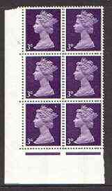 Great Britain 1967-70 Machin 3d (centre band) cylinder block of 6 (Cyl 3 dot) unmounted mint