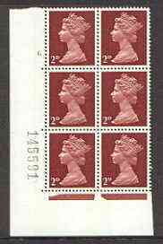 Great Britain 1967-70 Machin 2d cylinder block of 6 (Cyl 6 no dot) unmounted mint