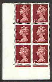 Great Britain 1967-70 Machin 2d cylinder block of 6 (Cyl 1 no dot) unmounted mint
