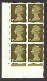 Great Britain 1967-70 Machin 1d cylinder block of 6 (Cyl 4 dot) unmounted mint