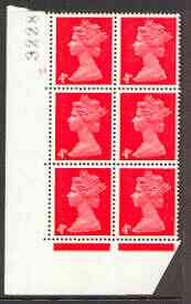 Great Britain 1967-70 Machin 4d vermilion cylinder block of 6 (Cyl 17 no dot) unmounted mint