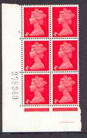 Great Britain 1967-70 Machin 4d vermilion cylinder block of 6 (Cyl 4 no dot) unmounted mint