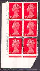 Great Britain 1967-70 Machin 4d vermilion cylinder block of 6 (Cyl 4 dot) unmounted mint
