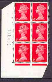 Great Britain 1967-70 Machin 4d vermilion cylinder block of 6 (Cyl 13 no dot) unmounted mint
