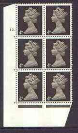 Great Britain 1967-70 Machin 4d sepia (two bands) cylinder block of 6 (Cyl 12 dot) unmounted mint
