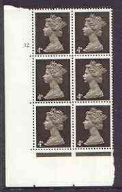 Great Britain 1967-70 Machin 4d sepia (centre bands) cylinder block of 6 (Cyl 12 no dot) unmounted mint