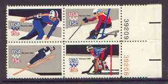 United States 1980 Lake Placid Winter Olympic Games se-tenant block of 4 unmounted mint (Perf 11x10.5) SG 1781a