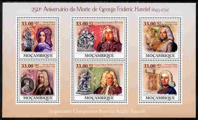 Mozambique 2009 250th Death Anniversary of George Frederic Handel perf sheetlet containing 6 vaues unmounted mint