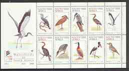 South Africa 1997 World Environment Day (Waterbirds) sheetlet containing set of 10 values unmounted mint, SG 977a