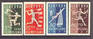 Lithuania 1938 Scouts & Guides National Camp opt on Olympiad Fund set of 4 unmounted mint, SG 424-27