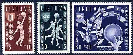 Lithuania 1939 Basketball Championship set of 3 unmounted mint, SG 432-34