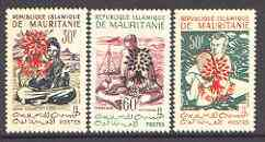 Mauritania 1962 World Refugee Year set of 3 opts on 1960 defs unmounted mint