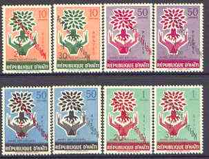 Haiti 1961 Education Campaign opts on World Refugee Year set of 8 unmounted mint, SG 700-707*