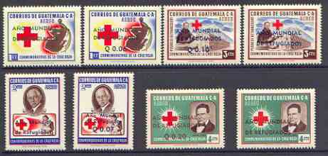 Guatemala 1960 World Refugee Year opts on Red Cross set of 8 unmounted mint, SG 637-44*