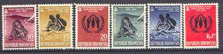 Indonesia 1960 World Refugee Year set of 6 unmounted mint, SG 824-29*