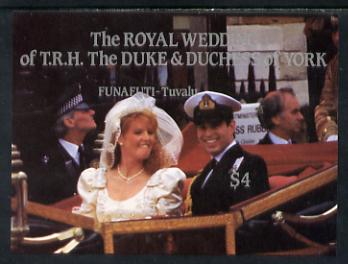 Tuvalu - Funafuti 1986 Royal Wedding (Andrew & Fergie) $4 imperforate m/sheet unmounted mint