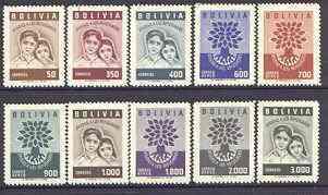 Bolivia 1960 World Refugee Year set of 10 unmounted mint, SG 671-80*