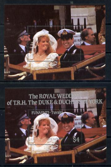 Tuvalu - Funafuti 1986 Royal Wedding (Andrew & Fergie) $4 perf m/sheet with silver omitted (inscription, value & Country) plus normal opt'd SPECIMEN unmounted mint