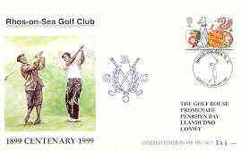 Great Britain 1999 Centenary of Rhos-on-Sea Golf Club illustrated cover with special 'Golf' cancel, from a limited edition of just 350