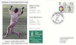 Great Britain 1999 The Primary Club (Patron Derek Underwood) illustrated cover with special 'Cricket' cancel