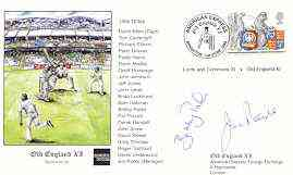 Great Britain 1999 Old England XI (v Lords & Commons XI) illustrated cover with special 'Cricket' cancel, signed by Jim Parks (manager) and Bobby Parks