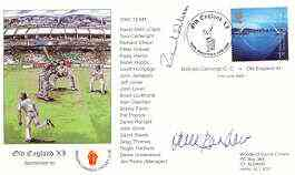 Great Britain 2000 Old England XI (v Bishops Cannings CC) illustrated cover with special 'Cricket' cancel, signed by Derek Randall and Richard Ellison