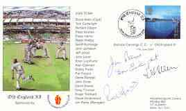 Great Britain 2000 Old England XI (v Bishops Cannings CC) illustrated cover with special 'Cricket' cancel, signed by Tom Cartwright, Jim Parks, David Allen (capt) and Robin Hobbs