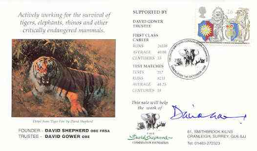 Great Britain 1998 Year of the Tiger illustrated cover (by David Shepherd) with special 'Elephant' cancel, signed by David Gower (Trustee)