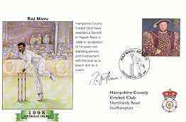 Great Britain 1998 Raj Maru Benefit illustrated cover with special 'Cricket' cancel, signed by Raj Maru