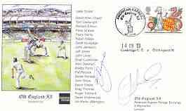 Great Britain 1998 Old England XI (v Cowbridge CC) illustrated cover with special 'Cricket' cancel, signed by Jeff Jones and Greg Thomas