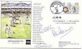 Great Britain 1998 Old England XI (v Earl of Arundel's XI) illustrated cover with special 'Cricket' cancel, signed by David Allen, Pat Pocock and Robin Hobbs