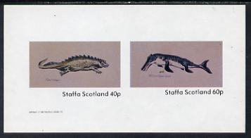 Staffa 1982 Prehistoric Marine Life (Placodus) imperf set of 2 values unmounted mint