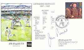Great Britain 1997 Old England XI (v Haywards Heath CC) illustrated cover with special 'Cricket' cancel, signed by Jim Parks