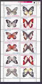 Somaliland 1999 Butterflies perf sheetlet of 12 values containing 2 sets of 6 arranged tete-beche unmounted mint