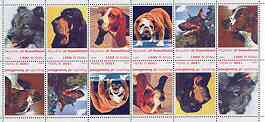 Somaliland 1999 Dogs #1 perf sheetlet of 12 values containing 2 sets of 6 arranged tete-beche unmounted mint