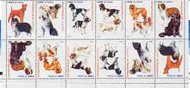 Somaliland 1999 Dogs #2 perf sheetlet of 12 values containing 2 sets of 6 arranged tete-beche unmounted mint