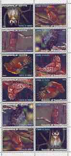 Somaliland 1999 Owls perf sheetlet of 12 values containing 2 sets of 6 arranged tete-beche unmounted mint
